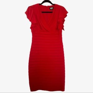 Adrianna Papell Red Pin-Tuck Cocktail Dress